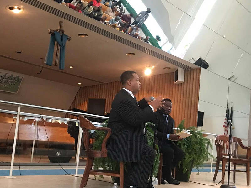 Detroit mayoral candidate, state Sen. Coleman Young II, speaks at a poverty town hall on the city's east side. The empty seat was reserved for Detroit Mayor Mike Duggan, who did not show up. - REV. LAWRENCE FOSTER