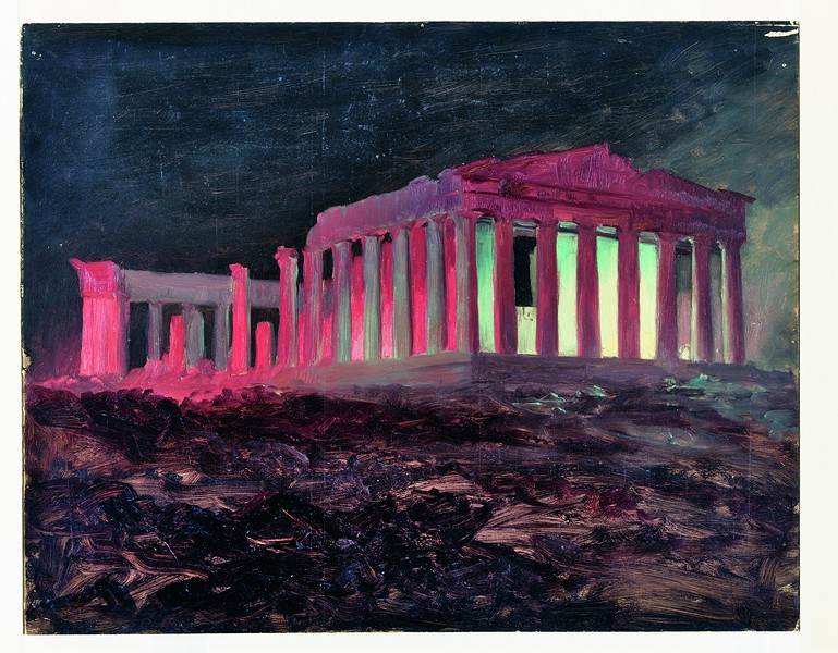 """Parthenon at Night, Athens,"" 1868, Frederic Church, oil and black chalk on paperboard. - ""PARTHENON AT NIGHT, ATHENS,"" 1868, FREDERIC CHURCH, OIL AND BLACK CHALK ON PAPERBOARD. COOPER HEWITT, SMITHSONIAN DESIGN MUSEUM, NEW YORK. GIFT OF LOUIS P. CHURCH, OL.1917-4-671"