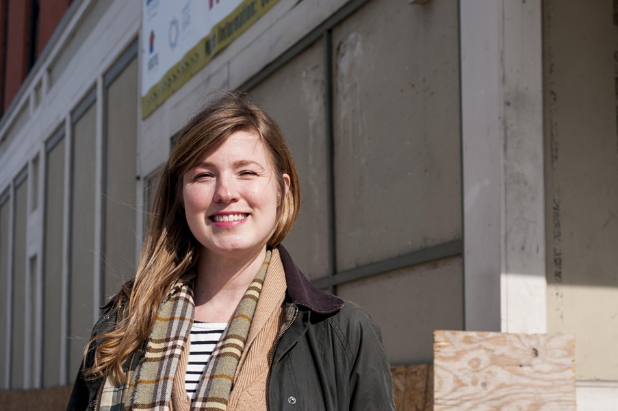 Lucy Peters at the under renovation, future home of Wilda's at the corner of West Grand and Woodward. - PHOTO BY TOM PERKINS