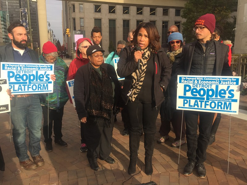 Nicole Smith with the Equitable Detroit Coalition calls for city officials to create a real community benefits ordinance that will hold developers accountable. - VIOLET IKONOMOVA