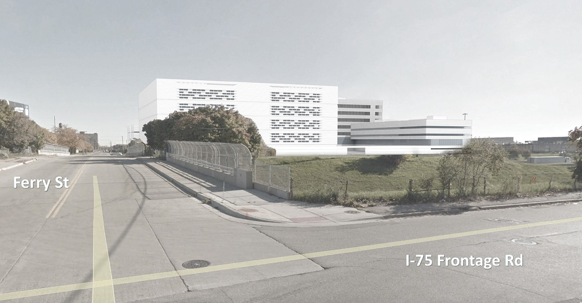 Digital rendering of proposed jail and criminal justice complex near I-75 and E. Ferry Street. - ROCK VENTURES.