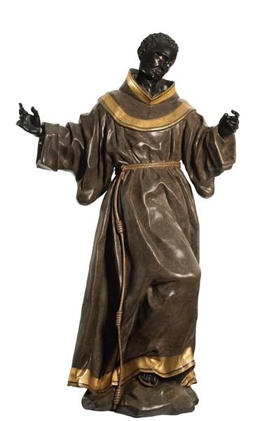 """SAINT BENEDICT OF PALERMO,"" 1770–80, ATTRIBUTED TO JUAN PASCUAL DE MENA, CONIFEROUS WOOD, PIGMENT, GOLD. MUSEUM PURCHASE"