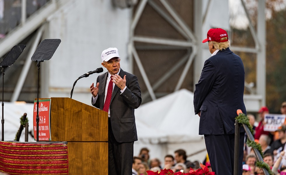 Then-Alabama Senator and current US Attorney General Jeff Sessions speaks to the crowd with US President-elect Donald J. Trump in 2016. - SHUTTERSTOCK
