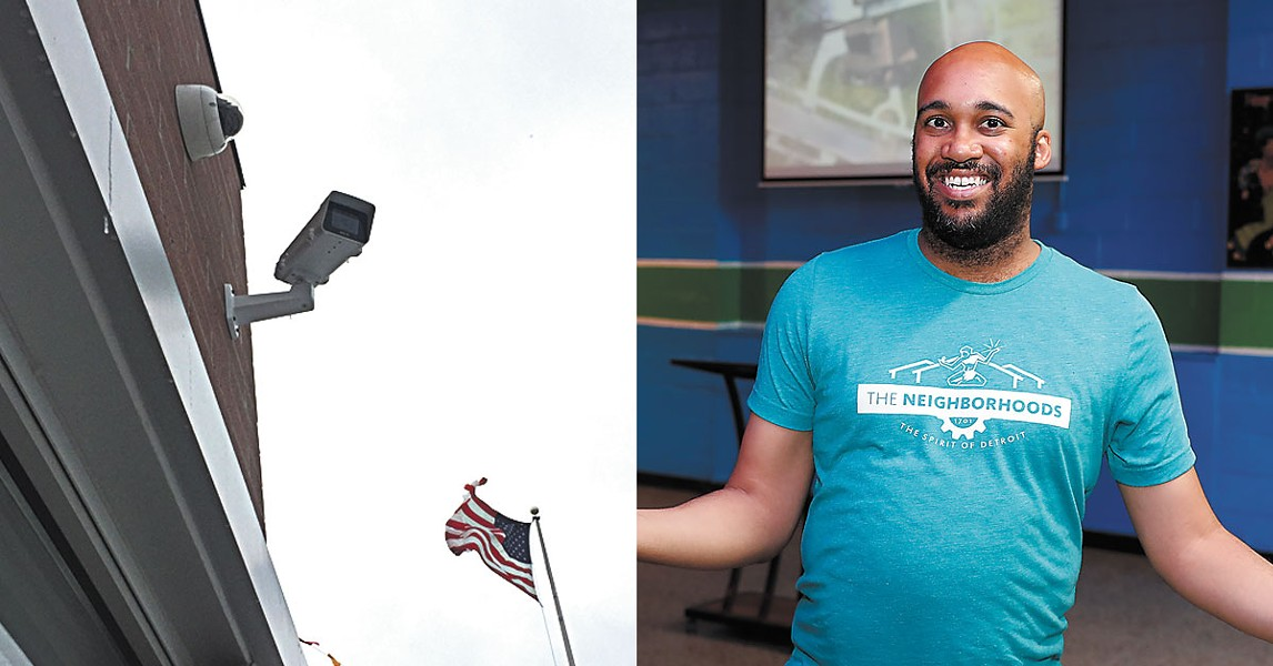 """Left: Project Green Light camera at a McDonald's on Eight Mile in Detroit. Right: Detroit's """"chief storyteller,"""" Aaron Foley, smiles for the camera at the launch event for """"The Neighborhoods"""" website. - VIOLET IKONOMOVA/KWABENA SHABU"""