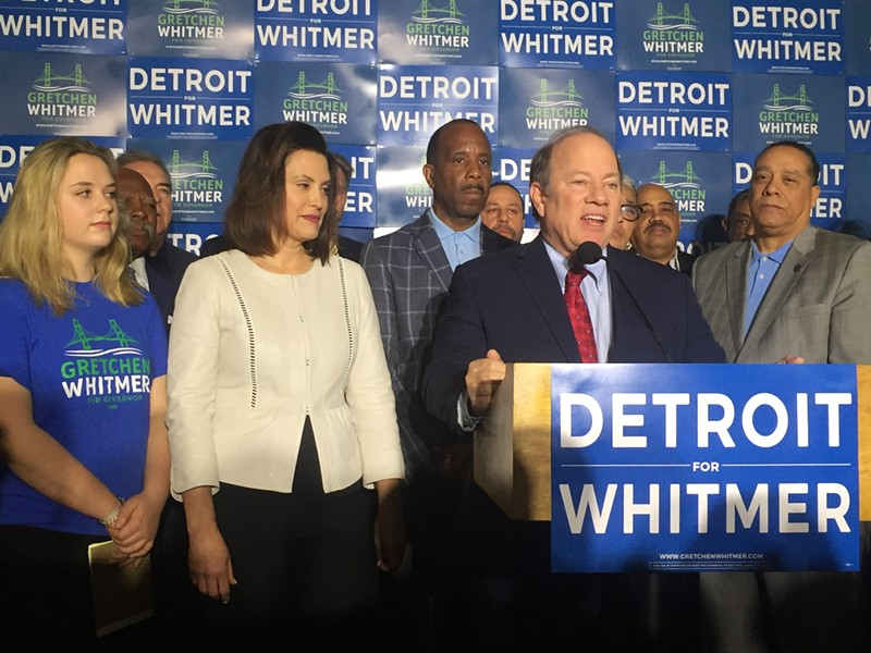 Detroit Mayor Mike Duggan endorses former state Sen. Gretchen Whitmer for Michigan governor. - VIOLET IKONOMOVA