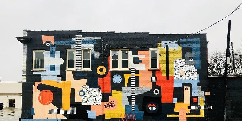 Mural by Ellen Rutt on West Vernorn Hwy in Detroit.