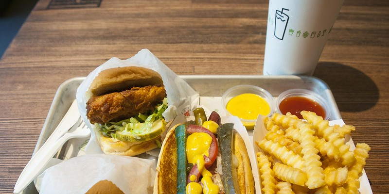 Shackburger, Chick'n Shack, Shack-cago Dog, fries.