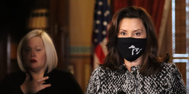 Gov. Gretchen Whitmer during a recent COVID-19 news conference.
