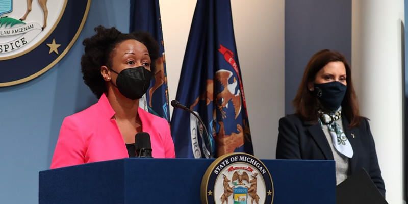 Michigan Department of Health and Human Services chief medical executive Dr. Joneigh Khaldun, left, and Governor Gretchen Whitmer address Michigan's COVID-19 outbreak.