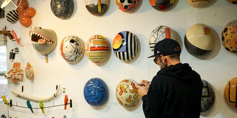 "Artist Iggy Sumnik and his ceramic ""Jellybeans."""
