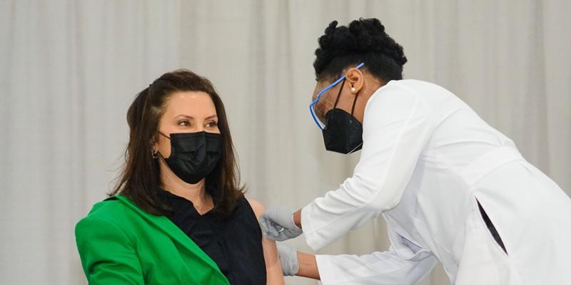 Gov. Gretchen Whitmer got her second COVID-19 vaccine dose on Thursday, April 29.