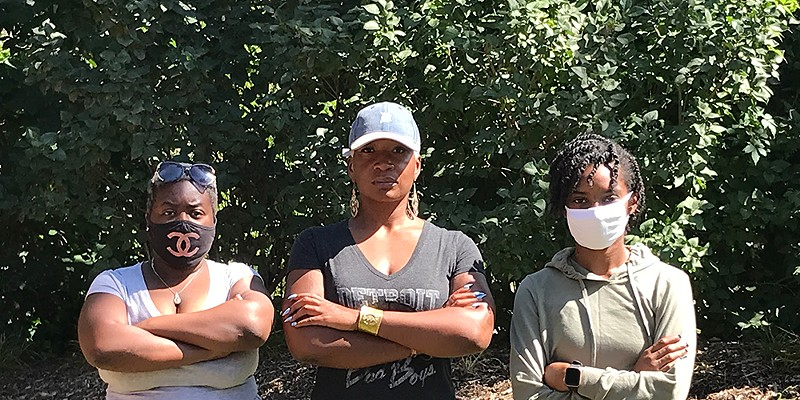 Three survivors (from left: Aaliyah Morrison, Niambe Ewing, and Ravone Fields) came forward to allege unsafe conditions at Ann Arbor's SafeHouse Center.