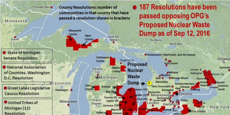 A map of the local resolutions opposing the proposed nuclear waste dump