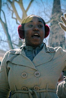 Siwatu-Salama Ra, then 15 years old, pictured speaking at an environmental justice rally in Wisconsin.