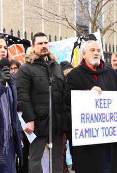Supporters of the Rranxburgaj family rally in January outside Central United Methodist Church, where father Ded has been given sanctuary.