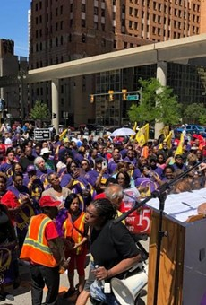 The SEIU kicks off its One Detroit campaign in front of city hall.