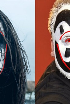 Left: Thora Bjorg Helga in an Icelandic black metal film Metalhead. Right: Insane Clown Posse's Violent J. Note the false jawline created by Violent J's Juggalo makeup.