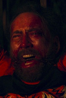 "Nic Cage looking all kinds of disturbed in ""Mandy"""
