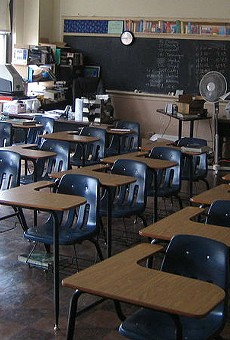 A view of a 3rd floor classroom at the former Old Detroit Holy Redeemer school.