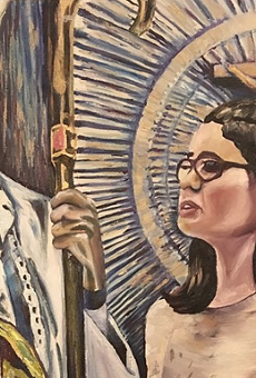 "Painting of Ella Fleury's confirmation, part of ""Moments: What Moments Are Acceptable to Miss?"" by artist Melissa Wilson."