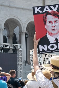 Protesters gather in LA following Donald Trump's nomination of Brett Kavanaugh to the Supreme Court,.