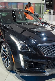 The Cadillac CTS-V IMSA Championship Edition appeared at the North American International Auto Show at the Cobo Center in downtown Detroit in January 2018.