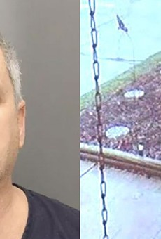Jeffrey Zeigler pictured in his mug shot, left, and in a still from a home surveillance video on the right.