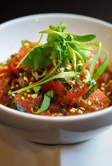 Chef Lloyd Roberts' tuna poke at Adachi.