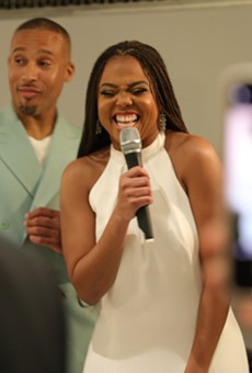 Jemele Hill, right, and Ian Wallace celebrated their engagement in Detroit.