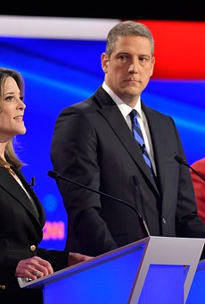 Marianne Williamson puts a hex on America while Tim Ryan and Amy Klobuchar look on.