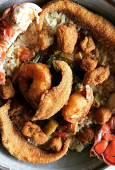 Everything but the Kitchen Sink: Lobster, shrimp, catfish, gumbo, rice, collards, and fried okra.