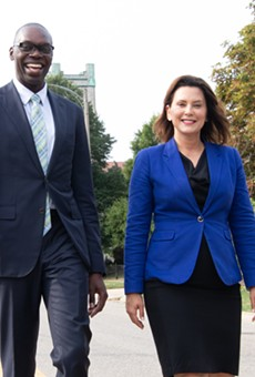 Gov. Gretchen Whitmer, right, with Lt. Gov. Garlin Gilchrist.