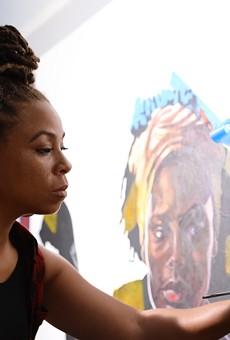 Sydney James at work in her studio.