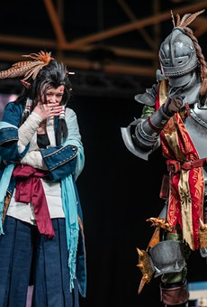 Janella Reiswig and Alan Wigness from West St. Paul, Minnesota performed as the Third Fleet Master and The Huntsman from Monster Hunter World at Youmacon 2018. They secured a first place win in the International Cosplay League.