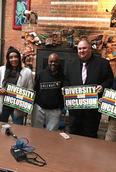 "Cannabis blogger Richard Clement, actress Bonita Money, author ""Freeway"" Rick Ross, State Rep. Isaac Robinson, and State Rep. Jewell Jones at a recent press conference."