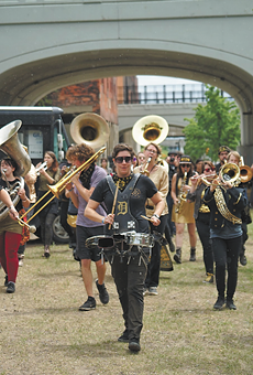 DPMB performing along the Dequindre Cut in 2018.