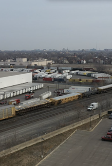 Photo of a derailed train in Southwest Detroit taken from the offices of the Ideal Group.