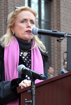 Congresswoman Debbie Dingell addresses the Women's March in Ann Arbor on January 21, 2017.