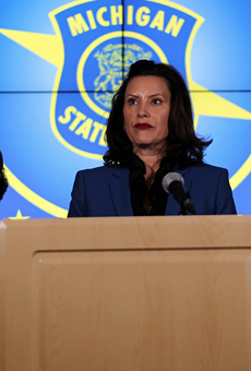 Gov. Gretchen Whitmer during a recent press conference on the coronavirus.