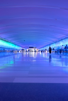 The light tunnel at Detroit Metropolitan Airport