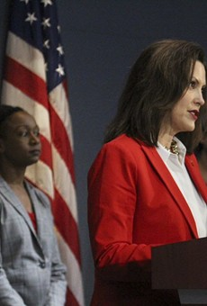 Dr. Joneigh Khaldun, left, and Gov. Gretchen Whitmer at a recent press conference.