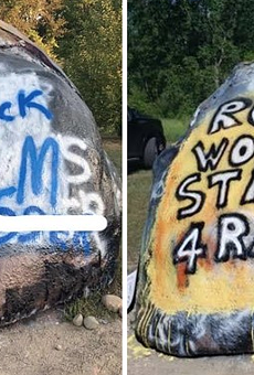 Anti-racism movement in conservative Romeo swells after rock defaced with racial slurs and blue lines