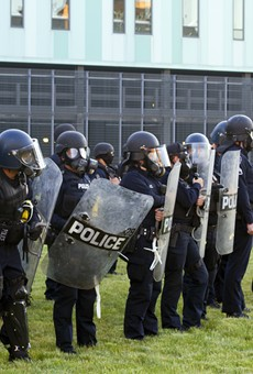 Detroit police in riot gear on May 31.