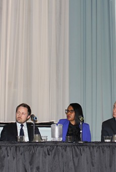 A panel of experts presenting at Flint town hall meeting on Wednesday.