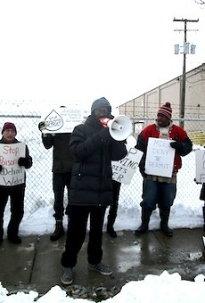Will Copeland of EMEAC speaks at a protest and press conference opposing a DEQ permit for a tenfold expansion of a toxic waste facility in Detroit this January.