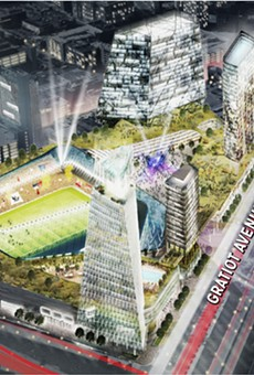 """Digital rendering of the proposed $1 billion mixed-use development at the """"fail jail"""" site."""