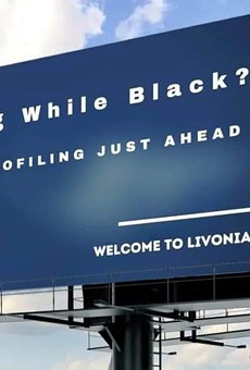 Billboard in Redford Township calls out racial profiling by Livonia police.