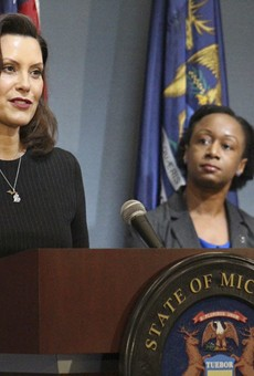 Gov. Gretchen Whitmer, left, with Dr. Joneigh Khaldun, the state's chief medical officer.