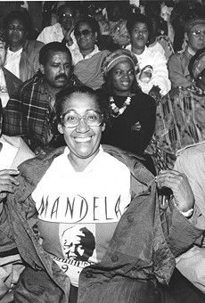 Solidarity house: Some of the 49,000 people who came to see Nelson Mandela at Tiger Stadium June 28, 1990.
