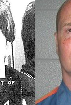 Richard Wershe Jr.'s mugshot circa 1987, left, and circa 2012, right.